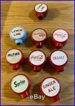 1950s Lot Of 8 Soda Fountain Dispenser Tap Handles Cornelius Tombstone Sprite