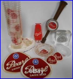 2 Pearl Beer Tap Handles & Ashtrays & 1975 Brewery Item & 1968 Hemisfair Cups