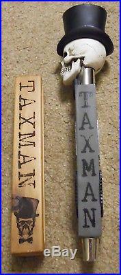 2 TaxMan Tap Handle Lot Beer Keg Tap Knob Marker RARE Tax Man Brewery