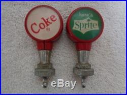 2 x 1950's Coca-Cola Coke & Sprite Soda Fountain Dispenser Pull Tap Knob Handles