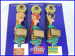 3 BNIB Florida Keys Mermaid Beer Tap Handle Lot Blonde Red Black