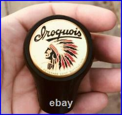 A Vintage Iroquois Indian Head Beer Ball Tap Knob Handle Buffalo Ny Can Sign