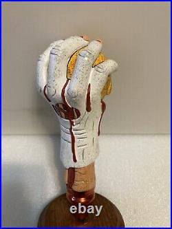 BEAVERTOWN BLOODY'ELL ZOMBIE HAND WITH SKULL Draft beer tap handle. ENGLAND