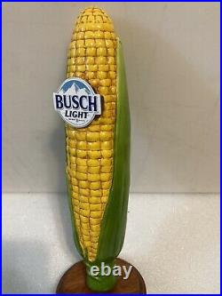 BUSCH LIGHT FRESH CORN ON THE COB FARM RESCUE draft beer tap handle. Damaged