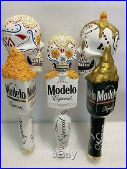 Bar Beer Tap Handle Lot of 3 Modelo Sugar Skull Dia De Los Muertes Day Of Dead