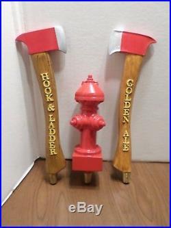 Beer Keg Tap Handle Lot Hatchet Golden Ale Fire Hydrant Fireman Hook Ladder RARE