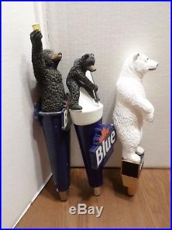 Beer Keg Tap Handle Lot of 3 Diff Rare Bear Labatt Alaskan Hockey Polar Toast