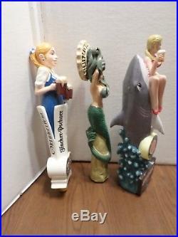 Beer Keg Tap Handle Lot of 3 Sexy Lady Miami Shark Bait HP Jugs Grey Mermaid