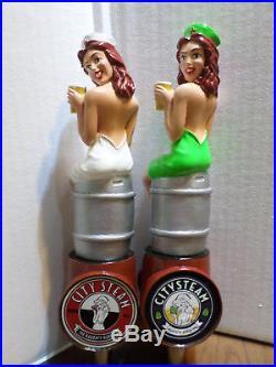 Beer Keg Tap Handle Set of 2 Outlawed & New Naughty Nurse City Steam Very Rare