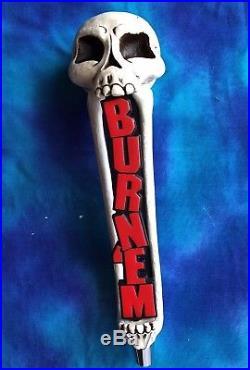 Beer Tap Handle Burn Em Brewing Beer Tap Handle Rare Figural Skull Tap Handle