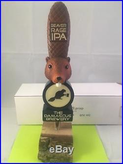 Beer Tap Handle Damascus Brewery Beaver Rage IPA Beer Tap Handle Figural Tap