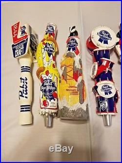 Beer Tap Handle Lot of 8 Pabst Blue Ribbon New Used Music Robot Elephant Dogs