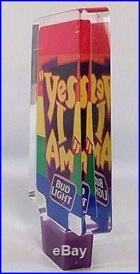 Bud Light Beer Draft Tap Handle Bar Knob Vintage 90s Rainbow Gay Interest LGBT
