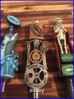 Dogfish head tap handle lot. Steampunk, shark, namaste, cookie cutter, off center