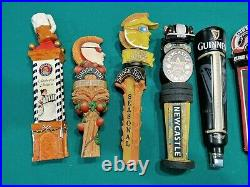 Draft Beer Tap Handle Lot of 9 Paulaner Newcastle Pacifico Guinness Ciderboy etc