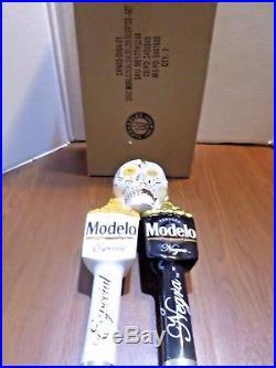 Dual Modelo Dia De Los Muertos Sugar Skull Negra Especial Beer Keg Tap Handle