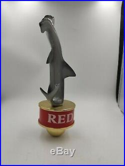 HOPS BREWPUB HAMMERHEAD RED HAMMERHEAD SHARK beer tap handle. RARE. FLORIDA