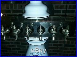 Hacker-Pschorr 6 Tap Beer Tower Porcelain Ceramic Beer Tap Handles not included