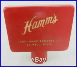 Hamm's Beer St Paul MINN MN vintage red w porcelain plate tap handle knob ball