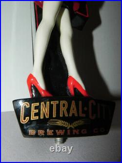 Large Central City Brewing Red Racer Beer Tap Handle Redhead Girl in Mini-Skirt