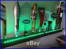 Lighted Wall Mnt. 10 Beer Tap Handle Display -deluxe Rosewood Colored Leds