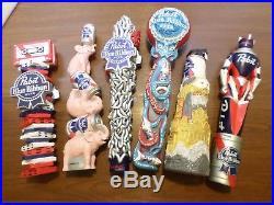 Lot of New PBR Pabst Blue Ribbon Draft Beer Tap Handles Octopus Elephant Badger