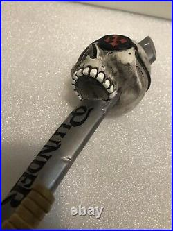 MISSION PLUNDER PIRATE SKULL AND SWORD draft beer tap handle. CALIFORNIA