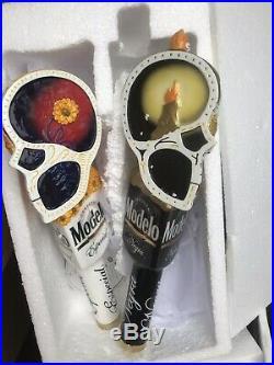 MODELO ESPECIAL AND NEGRA SUGAR SKULLS beer tap handles. MEXICO. NO BOX