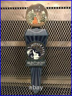 MOTHER EARTH BREWING NC RARE NEW Silent Night BA Stout Globe Top Beer Tap Handle