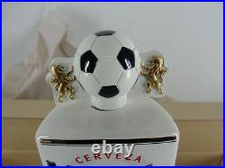 Modelo Especial Ceramic Draft Tall Beer Bar Tap Handle Soccer Ball White Nib
