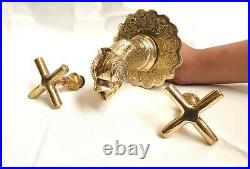 Moroccan Wall Mounted engraved Faucet Fish designe With Molded Brass Handle tap