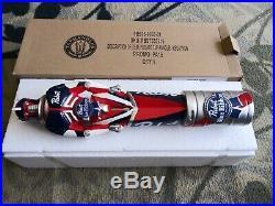 -NIB- PBR Pabst Blue Ribbon Kegatron Robot 11.5 Beer Keg Tap Handle