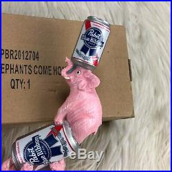 NIB Pabst Blue Ribbon Stacked Cans and Pink Elephant Beer Tap Handle 11
