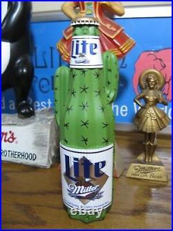 New Vtg 1995 Miller Lite Beer 3-d Oasis High Life Cactus Tap Handle Tapper Knob