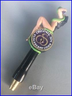 ORIGINAL SIN HARD CIDER NEW Figural SEXY Lady & Snake Elderberry Beer Tap Handle