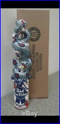 PBR Pabst Blue Ribbon Snake Can NIB Draft Beer Tap Handle Rare Man Cave Bar Sign