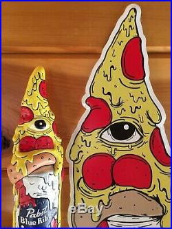 PBR Pabst Pizza Art Pizza Slice Tap Handle, Tin Sign & Coasters