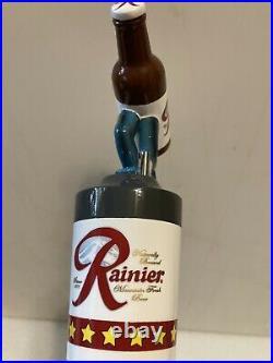 RAINIER BREWING GRAZING RUNNING BOTTLE draft beer tap handle. WASHINGTON