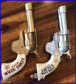 RARE LONE STAR BEER LIGHT PISTOL COLT 45 TAP HANDLE SET Texas Pearl Pabst