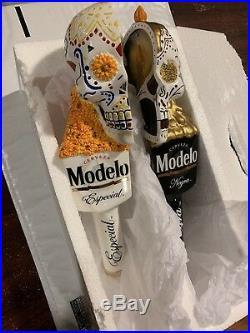 RARE MODELO Dual DIA DE LOS MUERTOS Beer Tap Handle SET (NIB)