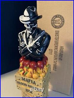 RARE! SINISTER BREWING Mafia Blood Orange IPA Skeleton Gangster Beer Tap Handle
