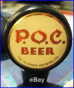 Rare P. O. C. Pride Of Cleveland Beer Kooler Keg Ball Tap Knob Handle Oh Ohio Poc