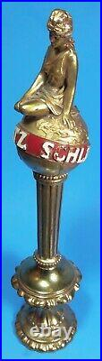 SCHLITZ RARE Gold Lady Sitting On Top of the World Globe Beer Tap Handle with BASE
