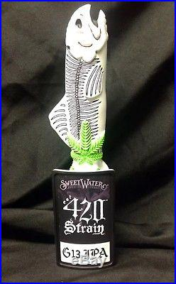SWEETWATER BREWING RARE 420 STRAIN G13 Weed SKULL Fish Beer Tap Handle