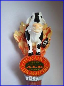 Scarce O'Grady's Chicago Fire Irish Amber Flaming Cow 12.5 Beer Keg Tap Handle