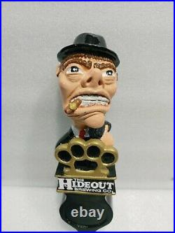 The Hideout Closed Brewery Rare Mobster Bandit 11 Draft Beer Tap Handle Mancave