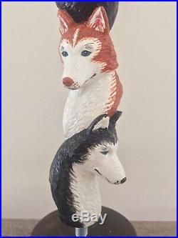 Three Huskies Husky Dog Wolf Dog Alaskan Wolf Brew Rare Figural Beer Tap Handle
