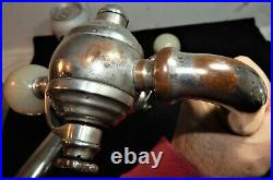 Two Antique Soda Fountain Silver Plate Dispenser Taps w Marble Handles / As Is
