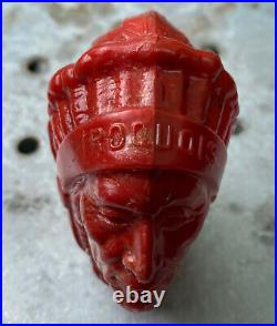 VINTAGE IROQUOIS (Red) INDIAN HEAD BEER TAP KNOB HANDLE BUFFALO NY