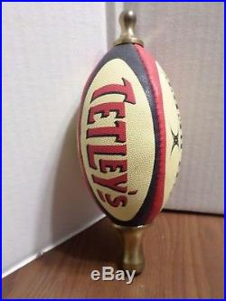Very Rare Tetley's Gilbert Brass Leather Football Draft Beer Keg Ball Tap Handle